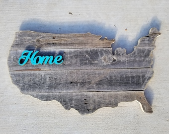 """Wooden USA """"Home"""" Sign, Reclaimed Wood, Handmade, United States Wood Sign"""