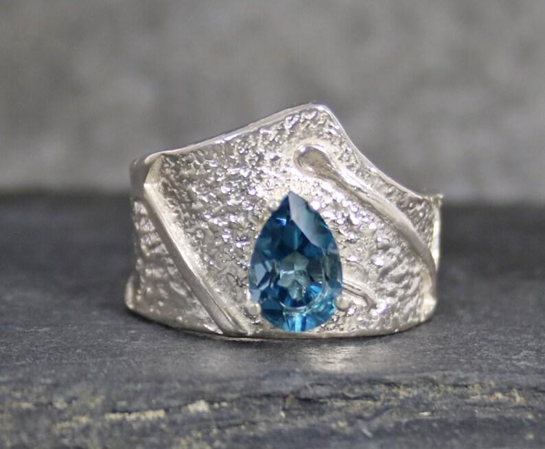November Birthstone Ring London Blue Topaz Sterling Silver Ring Blue Gemstone Ring