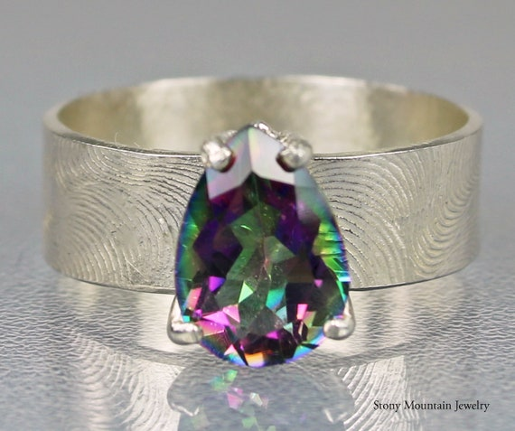 Rainbow colour jewellery  Gemstone jewelry Stacking Ring Lovely 925 Sterling Silver Mystic Fire Topaz Facet Cut Gemstone Small Ring