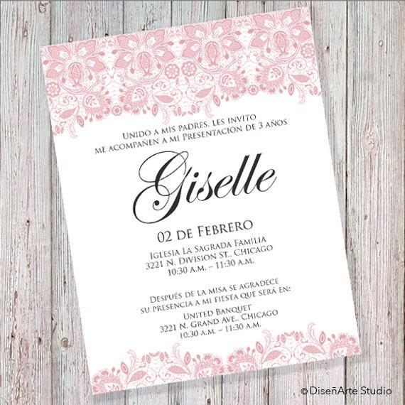 Presentación De 3 Años Invitación Rosa Can Also Be Worded For A Wedding Baptism Or A Babyshower Digital File