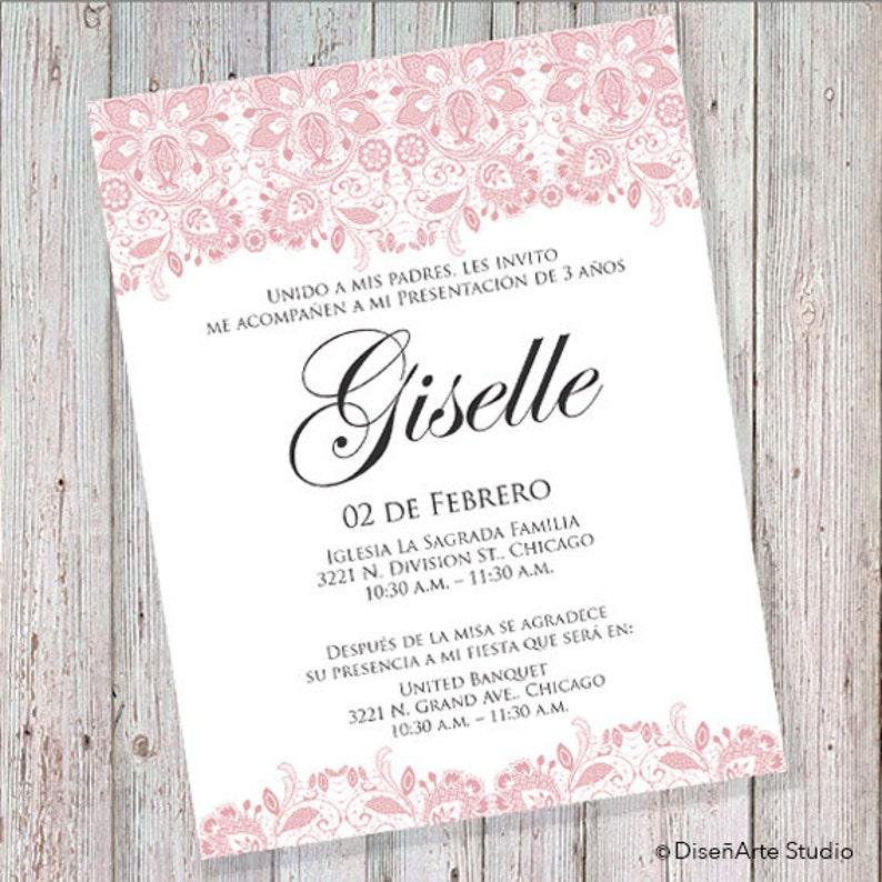 004069063 Presentación de 3 Años Invitación Rosa Can also be worded