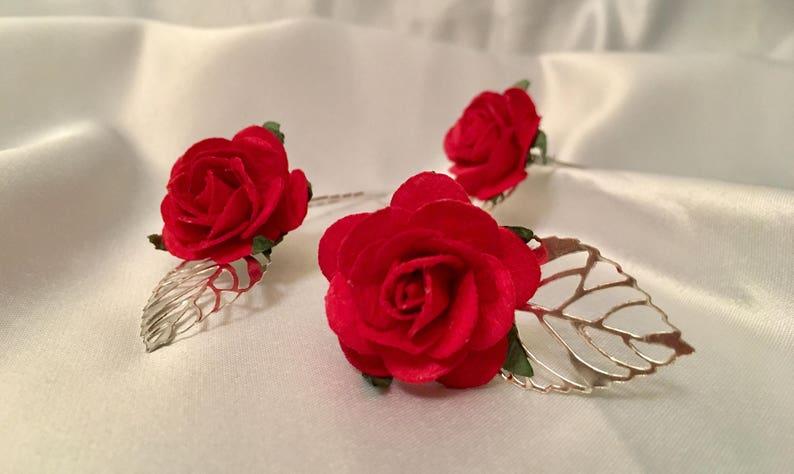 1dcfda6ac Red rose wedding hair pins bridal hair accessories | Etsy