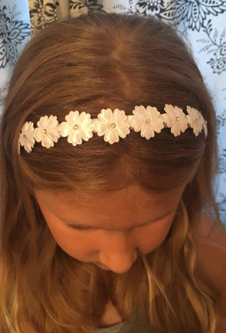 Bridal Bridesmaid hair accessories Communion Headband Floral Hairpiece White Bridesmaid hair band flower girl accessories Wedding