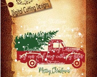 Old Red Christmas Truck SVG DXF PNG and Eps Instant Download Digital Vector Cut File  Scrapbook Htv Silhouette Cricut
