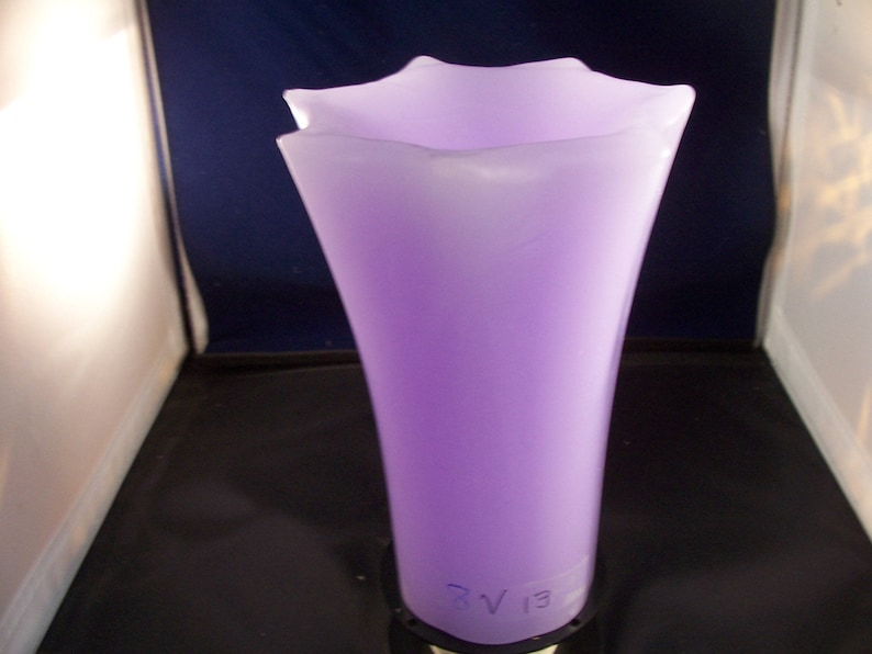 Unique glowing violet candle 8 inches tal unscented image 0