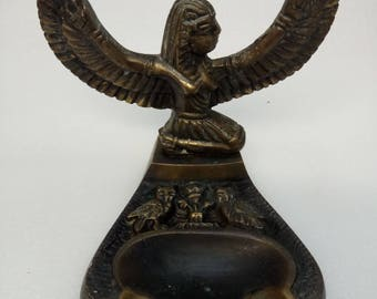 collectible Vintage brass  Ashtrays from Egypt Goddess of Medicine