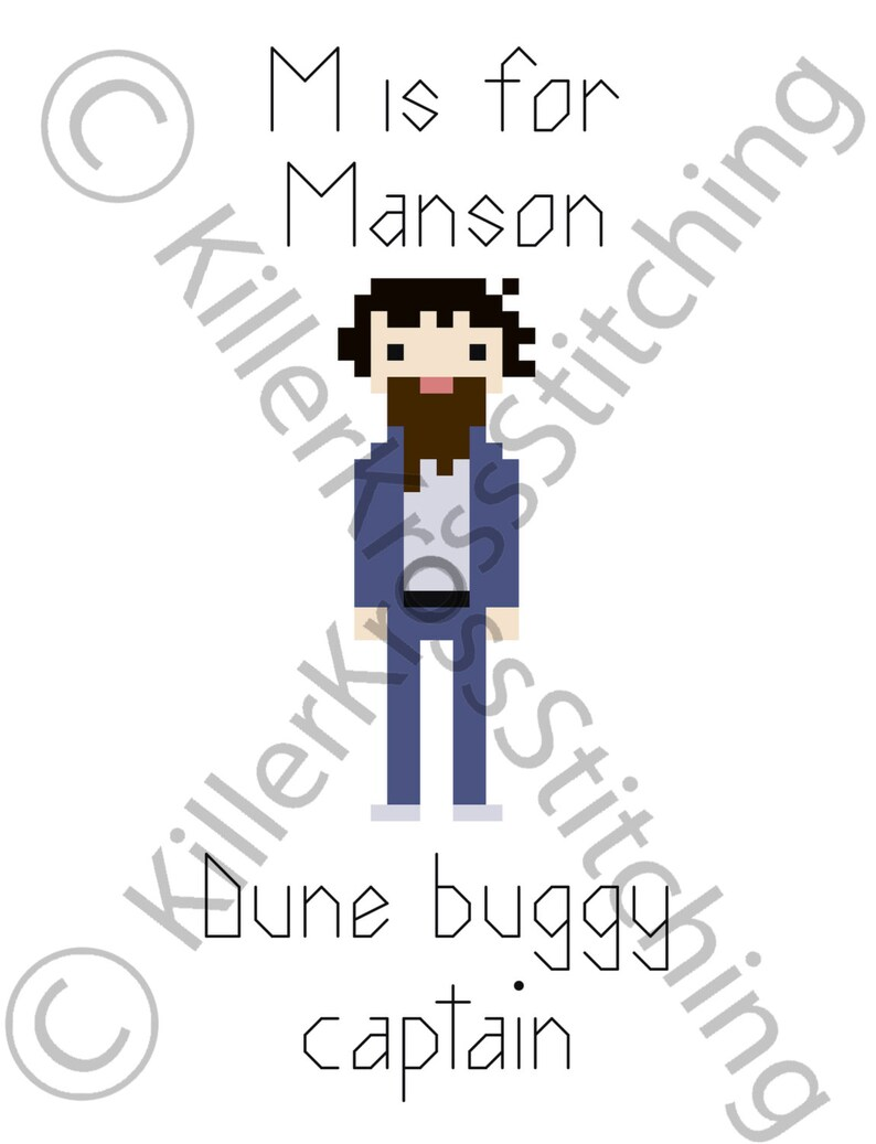 M is for Manson **INSTANT DOWNLOAD** cross stitch embroidery needlepoint  serial killer murder art digital pattern