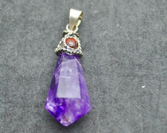 Sterling Silver Amethyst Pendant Necklace With Garnet ~ FREE SHIPPING