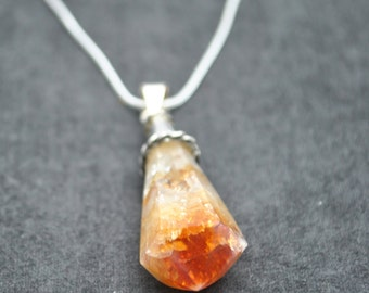 Sterling Silver Citrine Pendant Necklace With Garnet ~ FREE SHIPPING