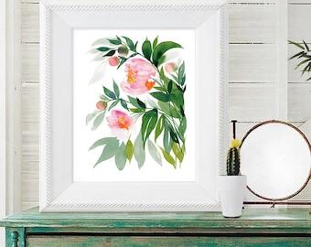 Peony watercolor print of original watercolor painting 8x10, watercolor peonies, floral watercolor giclee, pink peonies, pink flowers