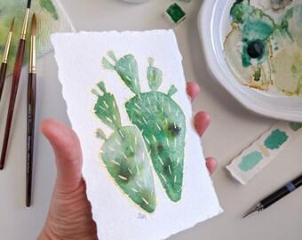 Original watercolor cactus painting, Confetti Cactus Collection, handmade cactus art, cactus artwork, small cactus painting, painting #21