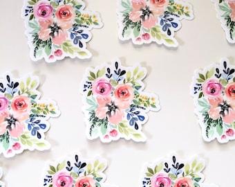 Floral sticker, vinyl floral sticker, vinyl watercolor sticker, watercolor flower sticker, vinyl sticker, pink roses, bouquet sticker