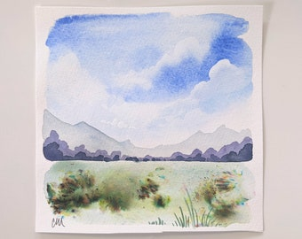 Original watercolor landscape paintings, petite painted landscapes, mini watercolor landscape paintings, small original art