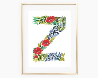 Watercolor alphabet, Letter Z print, Initial Z, Watercolor Monogram, Nursery Decor, Watercolor letter, First Initial Art Print, Floral 8x10