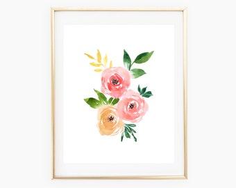 Floral watercolor print, watercolor nursery print, 8x10 and 11x14 watercolor print, watercolor flowers, pink floral print, floral cluster