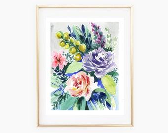 Vintage floral watercolor print, vintage inspired floral art print, 8x10 watercolor print, watercolor flowers, pink and purple floral print