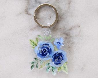 Blue floral acrylic keychain, floral keychain, blue flower art, acrylic keychain, tulip poplar co. keychain, blue floral