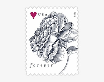 USPS Vintage Rose Forever Stamps - Postage stamps for wedding invitations, thank you letters