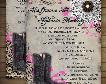 100 - 5x7 Western Chic /Boots Cowgirl Invitation Custom in your color/or Digital file Available