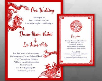 100 pcs Asian Inspired /Dragon & Phoenix  wedding Invitation and Reception