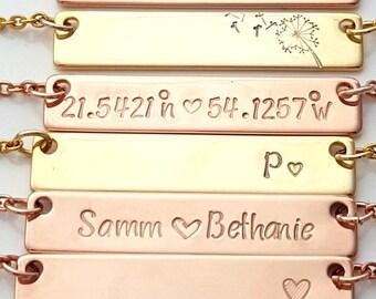 Gold Bar Necklace, Name Bar Necklace, Engraved Bar Necklace, in Silver, Gold Plated, Rose, Gold Name Plate Necklace