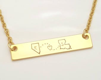 State Necklace, Long Distance Relationship, Bar Necklace, Girlfriend Gift, Best Friend Gift, Long Distance Gift, Gift for Her, Valentines