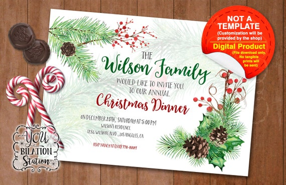 Christmas Party Invitation For Office Family Gathering School Church Pinecone Design Printable Downloadable File