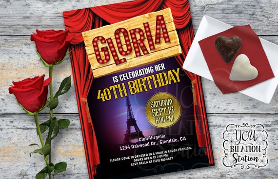 Themed Party Invitation Cancan French Moulin Rouge Themed Etsy
