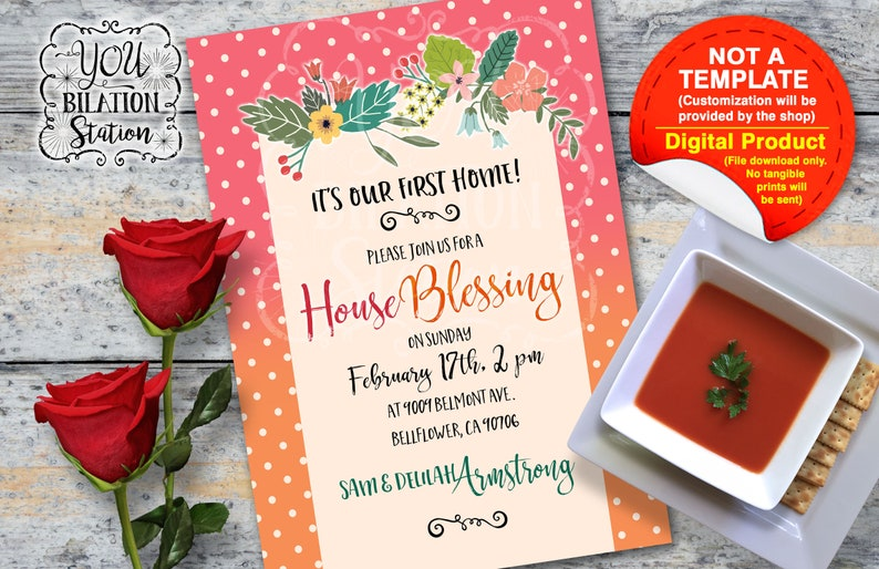 Housewarming Moving In House Blessing Invitation Floral Dots Etsy