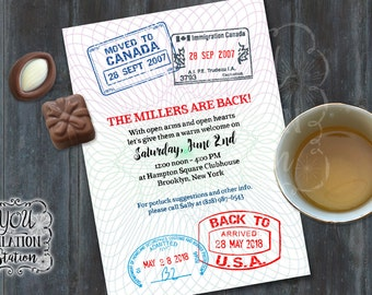 Homecoming/Welcome Home/Military Post-Deployment Party Invitation (Passport Design) Printable Downloadable File