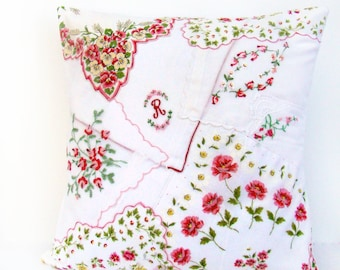 Monogram Pillow, Bed Pillow Nursery Pillow, Personalized Monogram, Pink Throw Pillow Shabby Vintage Nursery Monogram, Red Crazy Quilt Pillow