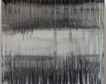 Black and grey abstract drip painting