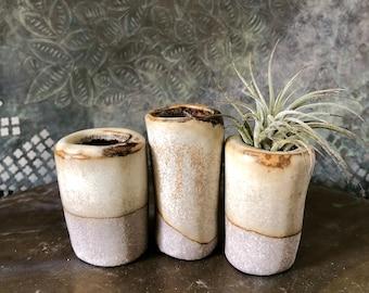 Ceramic Set of Three Mini Air Planter/Mini Succulent Pots (in White Rust), Desk/Studio/Salon/Home Decor, Wedding Decor, Ready to Ship