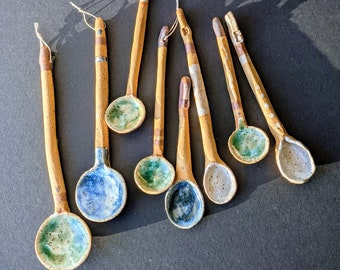 SERVING SPOONS for CANAPES handmade ceramic stoneware pottery spoons for party hors d/'oeuvres Set of 4 servers for party appetizers