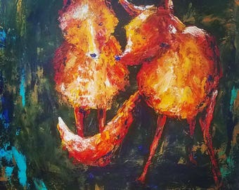 Foxes by the den, 24x24 original painting