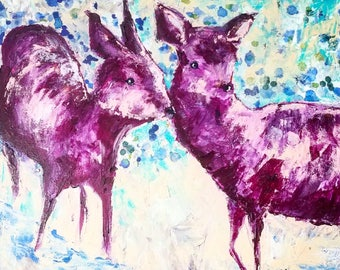Deer Sisters, archival quality 12x12 wildlife print of original acrylic painting