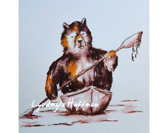 """Kayaking on Baboosic: 8""""x10"""" OR 11''x14'' archival quality giglee print (Amherst Bear series)"""