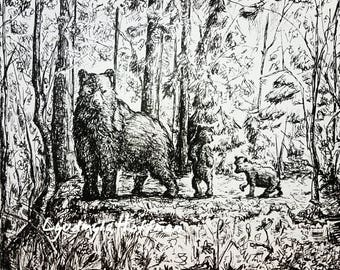 Mama Bear with Cubs 8x10 OR 11x14 archival Giclee print: wildlife nursery and home wall art decor