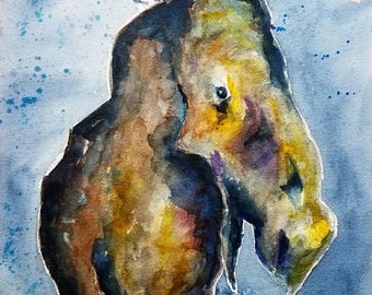 Moose, original watercolor painting 12x16 with 16x20 double mat