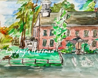 Old School House, Amherst NH, archival Giclee print from watercolor original