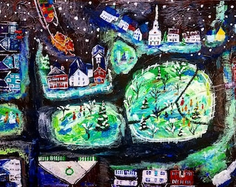 Amherst Village tree lighting ceremony, 8x10 Giclee print made from original acrylic folk art painting