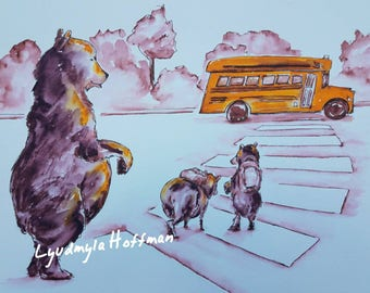 "Back to School Bears: 8"" x 10"" OR 11''x14'' limited edition archival giclee print (Amherst Bear series)"