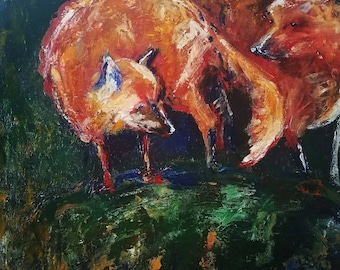 Foxes by the den, 24x24 original acrylic painting