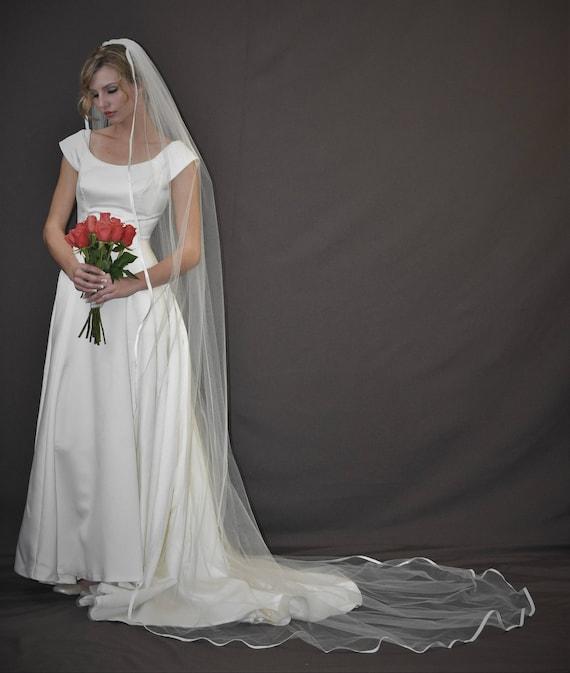 "Wedding Veil Bridal Sheer Soft Cathedral 54/"" Width 105/"" Length Cut Edge USA MADE"