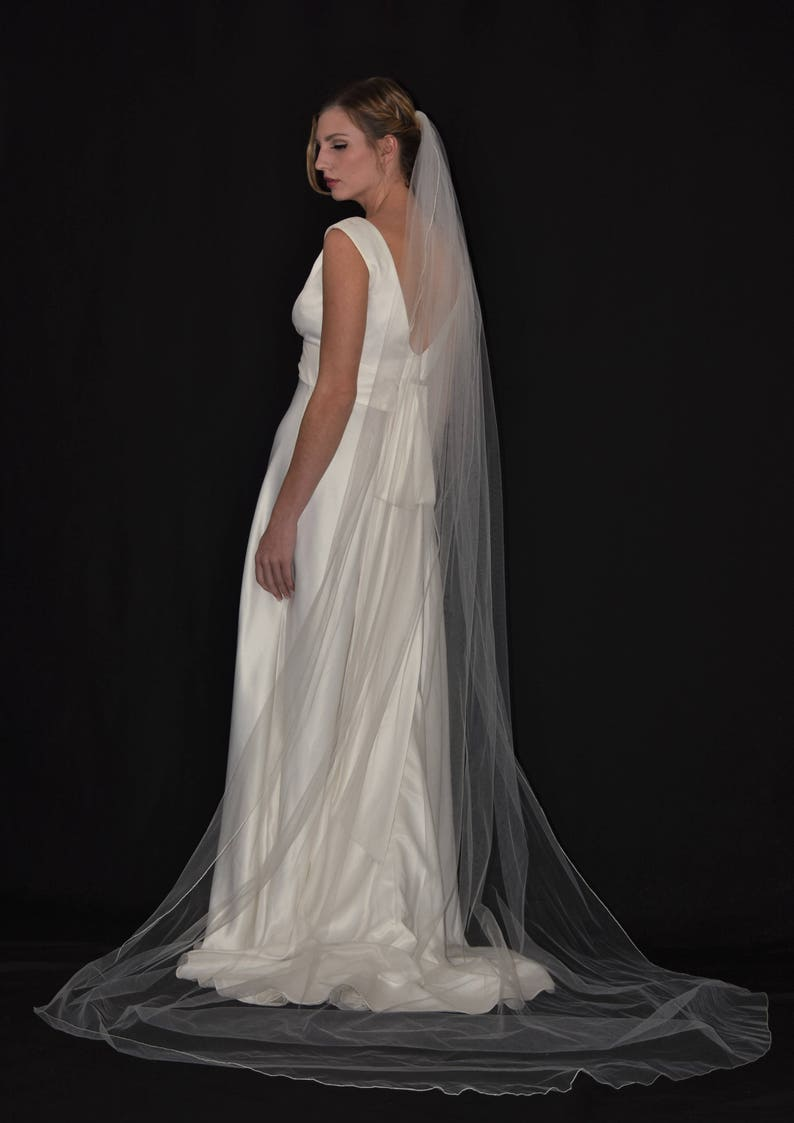 Pencil Edge Wedding Veil *Chapel Length*1 Tier*Off white/&Ivory*Made to Order*