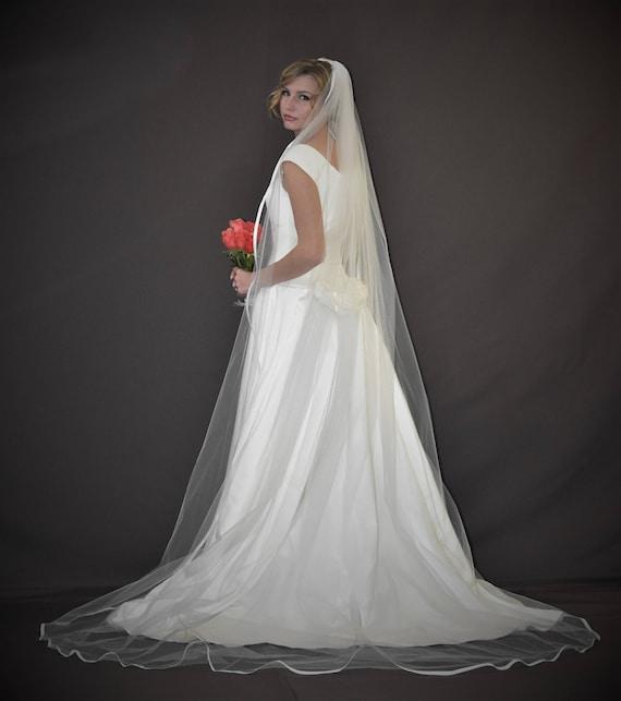 Ivory Veil Chapel Veil Fingertip Veil Long Veil Satin Ribbon Bridal Veil Custom Veil Satin Ribbon Edge Wedding Veil Cathedral Veil