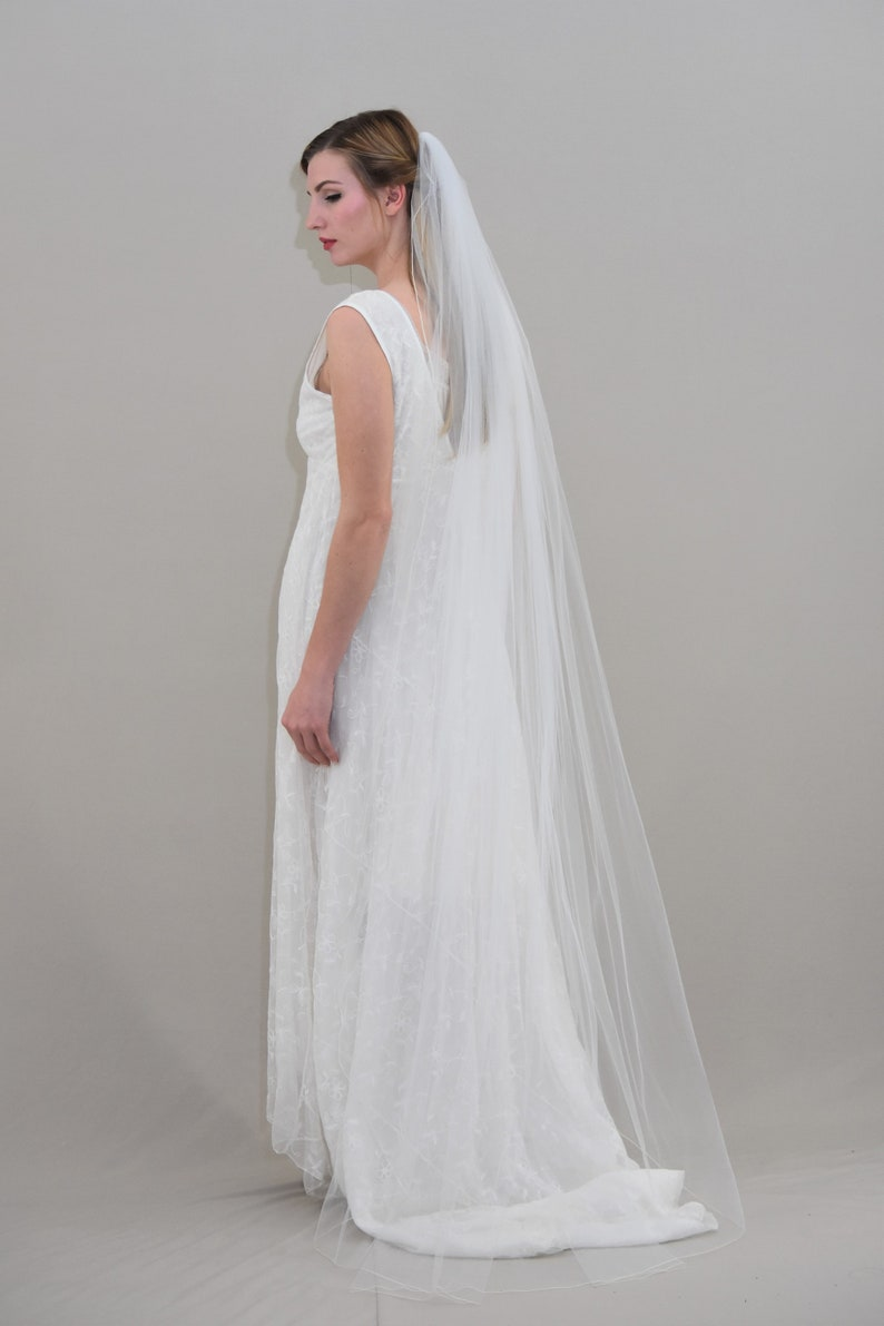 01e0bfbcbe0d6 Waltz Veil Pencil Edge Veil Floor Length Veil Pencil