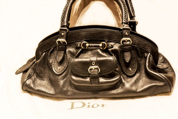 Christian Dior Black Leather Tote Bag  387b2ad2b3ead