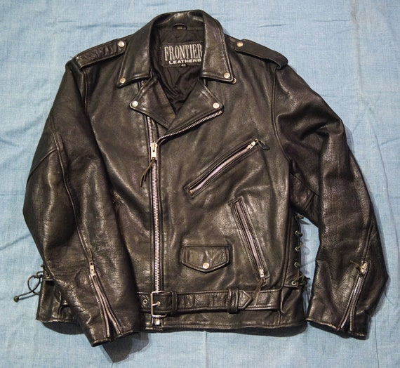 Vtg 90s Leather Motorcycle Jacket - Frontier Leath