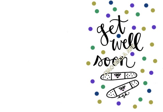 Printable Hand Lettered Get Well Soon Card Etsy